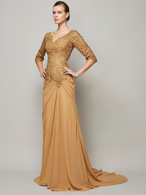 Sheath/Column V-neck 1/2 Sleeves Floor-Length Lace Chiffon Dresses