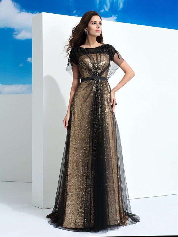 A-Line/Princess Sheer Neck Short Sleeves Floor-Length Paillette Net Dresses