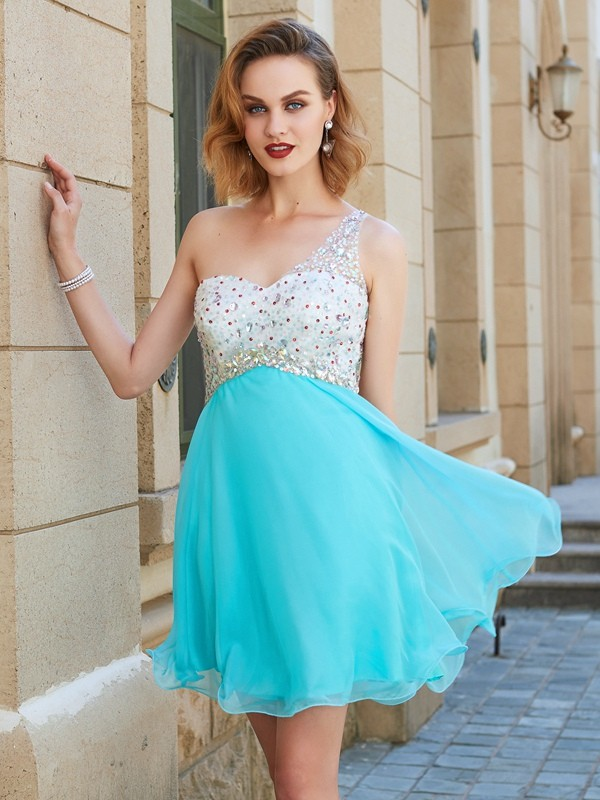 A-Line/Princess One-Shoulder Sleeveless Short/Mini Beading Chiffon Dresses