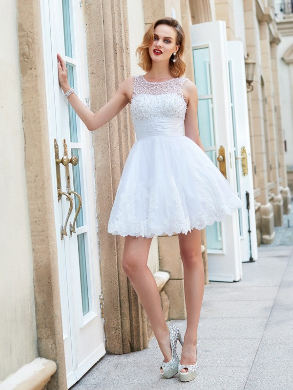 A-Line/Princess Jewel Sleeveless Short/Mini Pearls Lace Dresses