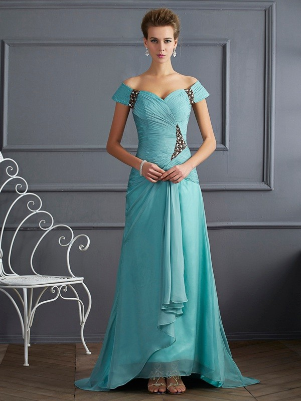 2631a226bb61 A-Line/Princess Off-the-Shoulder Sleeveless Sweep/Brush Train Beading