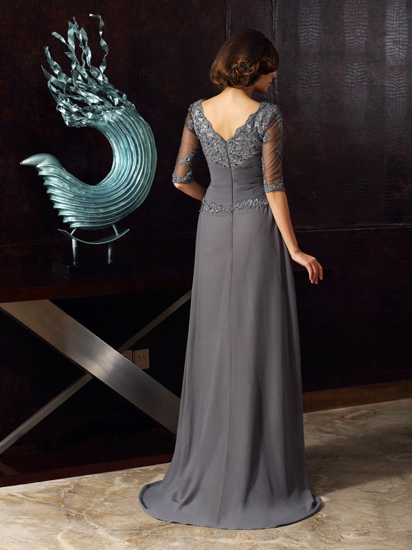 93650242a13 A-Line Princess 1 2 Sleeves Scoop Floor-Length Applique Chiffon Mother of  the Bride Dresses - Wishyprom