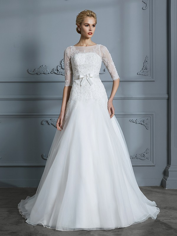 683a8d1336 A-Line Princess 1 2 Sleeves Scoop Lace Court Train Tulle Wedding Dresses