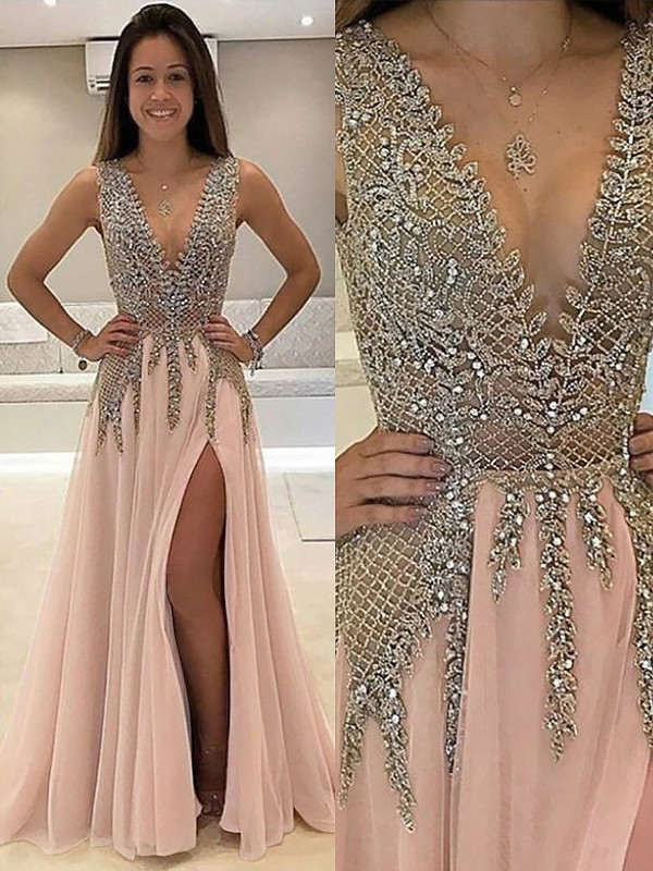b40bc24ad0a A-Line Princess V-Neck Sleeveless Floor-Length Beading Tulle Dresses ...