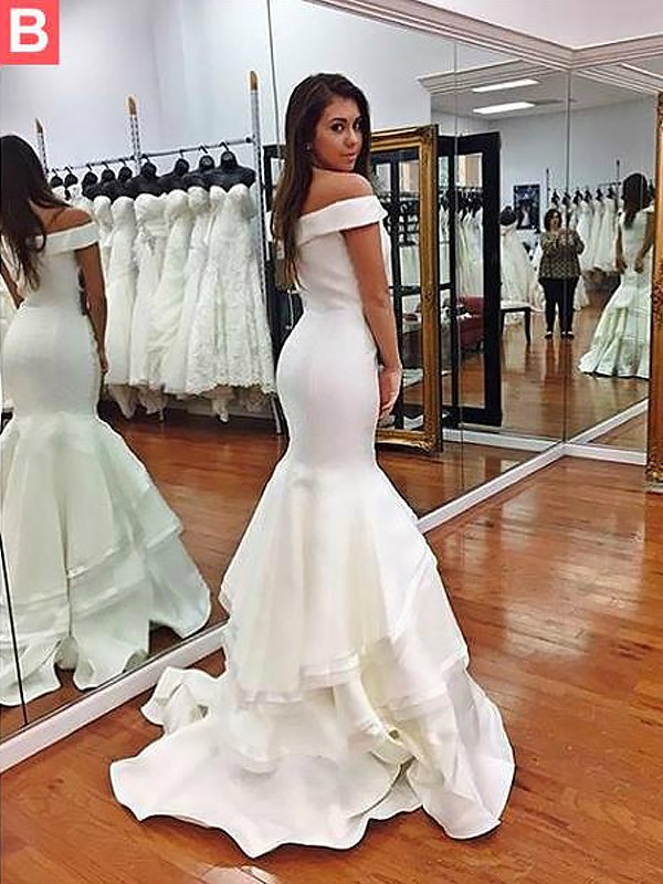 60f7df0b1d Trumpet Mermaid Sleeveless Off-the-Shoulder Taffeta Layers Sweep Brush  Train Dresses ...