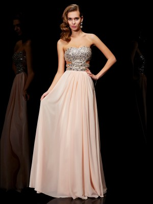 A-Line/Princess Sleeveless Sweetheart Floor-Length Rhinestone Chiffon Dresses