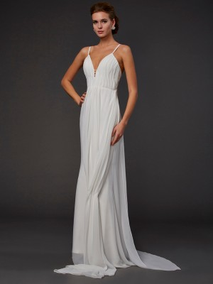 Trumpet/Mermaid V-neck Sleeveless Floor-Length Ruffles Chiffon Dresses