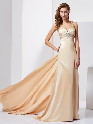 Sheath/Column Halter Sleeveless Sweep/Brush Train Ruffles Silk like Satin Dresses