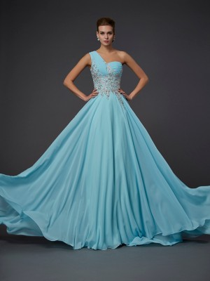 A-Line/Princess One-Shoulder Sleeveless Floor-Length Ruffles Chiffon Dresses