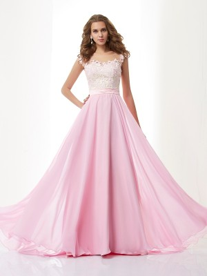 A-Line/Princess Sleeveless Straps Sweep/Brush Train Applique Chiffon Dresses