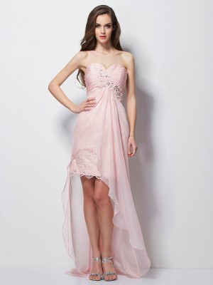 A-Line/Princess Sleeveless Sweetheart Asymmetrical Applique Chiffon Dresses