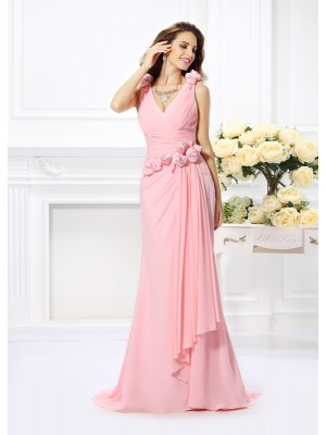 Trumpet/Mermaid V-neck Sleeveless Sweep/Brush Train Hand-Made Flower Chiffon Bridesmaid Dresses
