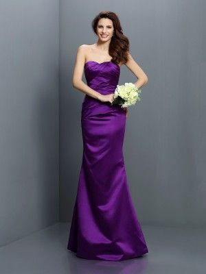 Trumpet/Mermaid Strapless Sleeveless Floor-Length Pleats Satin Bridesmaid Dresses
