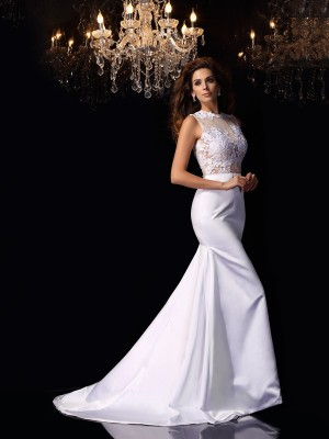 Trumpet/Mermaid High Neck Sleeveless Chapel Train Applique Satin Wedding Dresses