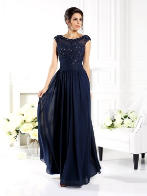 A-Line/Princess Sleeveless Scoop Floor-Length Beading Chiffon Mother of the Bride Dresses