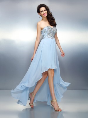 A-Line/Princess Sweetheart Sleeveless Asymmetrical Ruffles Chiffon Dresses