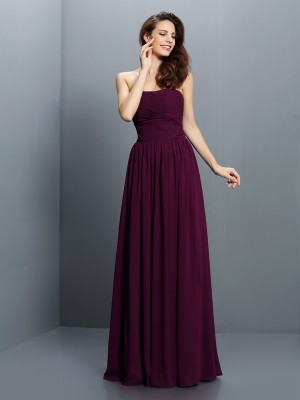 A-Line/Princess Sleeveless Strapless Floor-Length Pleats Chiffon Bridesmaid Dresses