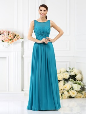A-Line/Princess Sleeveless Bateau Floor-Length Pleats Chiffon Bridesmaid Dresses