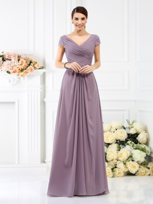 A-Line/Princess V-neck Short Sleeves Floor-Length Pleats Chiffon Bridesmaid Dresses