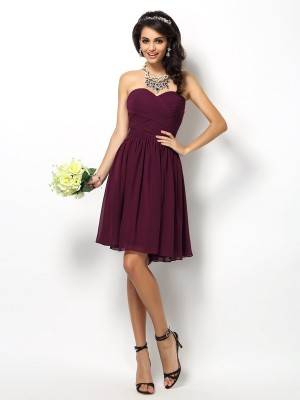 A-Line/Princess Sweetheart Sleeveless Short/Mini Pleats Chiffon Bridesmaid Dresses