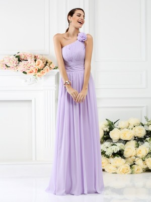 A-Line/Princess Sleeveless One-Shoulder Floor-Length Pleats Chiffon Bridesmaid Dresses