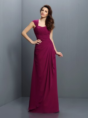 A-Line/Princess Straps Sleeveless Floor-Length Pleats Chiffon Bridesmaid Dresses