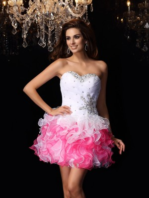 A-Line/Princess Sweetheart Sleeveless Short/Mini Ruffles Organza Dresses