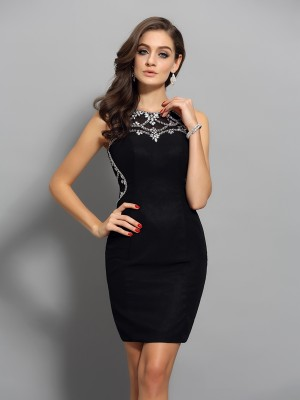 Sheath/Column Scoop Sleeveless Short/Mini Beading Chiffon Dresses