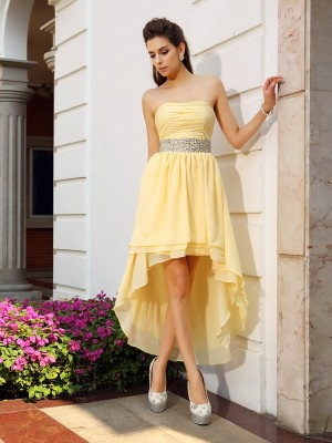 A-Line/Princess Sleeveless Strapless Asymmetrical Beading Chiffon Dresses