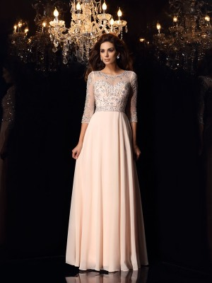 A-Line/Princess Scoop 3/4 Sleeves Floor-Length Beading Chiffon Dresses