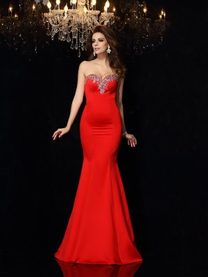 Sheath/Column Sweetheart Sleeveless Court Train Beading Satin Dresses