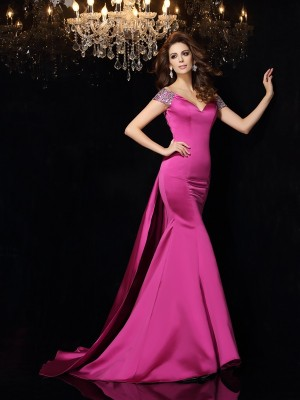 Trumpet/Mermaid Off-the-Shoulder Sleeveless Court Train Beading Satin Dresses