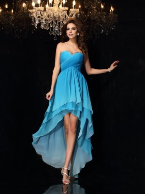 A-Line/Princess Sleeveless Sweetheart Asymmetrical Ruched Chiffon Dresses