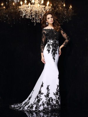 Sheath/Column Long Sleeves Scoop Court Train Lace Chiffon Dresses