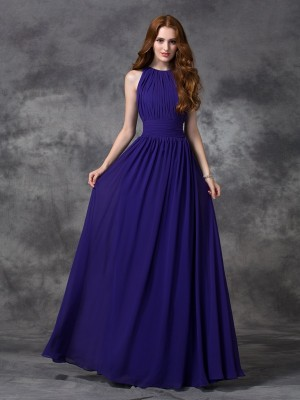 A-Line/Princess Sleeveless Jewel Floor-Length Ruched Chiffon Bridesmaid Dresses