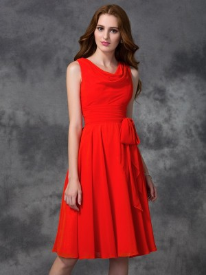 A-Line/Princess Scoop Sleeveless Knee-Length Ruffles Chiffon Bridesmaid Dresses