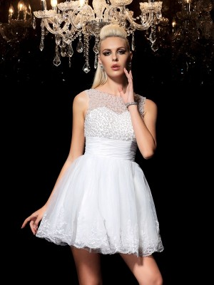 A-Line/Princess Sheer Neck Sleeveless Short/Mini Beading Elastic Woven Satin Dresses