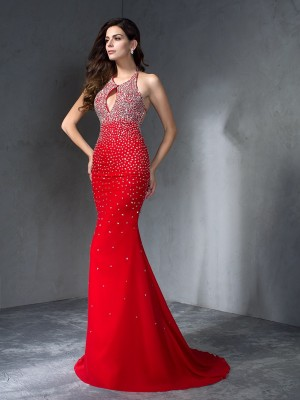 Trumpet/Mermaid Halter Sleeveless Sweep/Brush Train Beading Chiffon Dresses