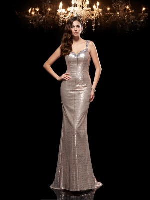 Sheath/Column Sleeveless Straps Sweep/Brush Train Beading Sequins Dresses