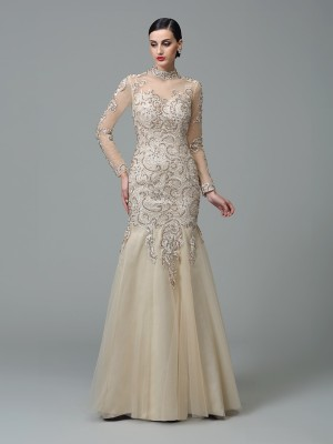 Sheath/Column High Neck Long Sleeves Floor-Length Applique Net Dresses