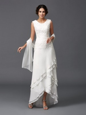 A-Line/Princess Scoop Sleeveless Ankle-Length Lace Chiffon Mother of the Bride Dresses