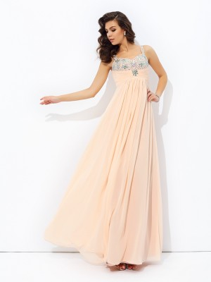 A-Line/Princess Spaghetti Straps Sleeveless Floor-Length Beading Chiffon Dresses