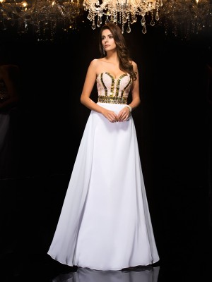 A-Line/Princess Sleeveless Sweetheart Floor-Length Sequin Chiffon Dresses