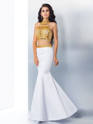 Trumpet/Mermaid High Neck Sleeveless Floor-Length Beading Satin Two Piece Dresses