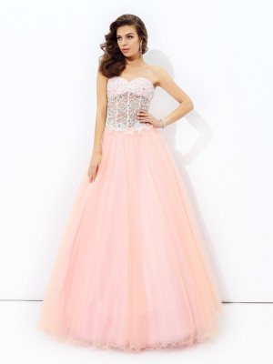 A-Line/Princess Sweetheart Sleeveless Floor-Length Lace Net Dresses