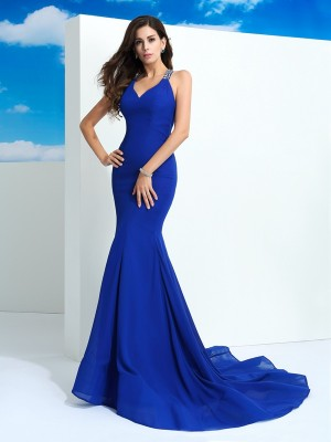 Sheath/Column Straps Sleeveless Court Train Beading Chiffon Dresses