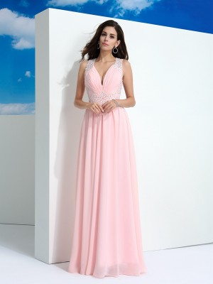 A-Line/Princess Straps Sleeveless Floor-Length Beading Chiffon Dresses