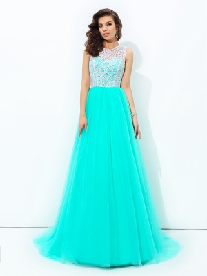 A-Line/Princess Sleeveless Scoop Sweep/Brush Train Lace Net Dresses