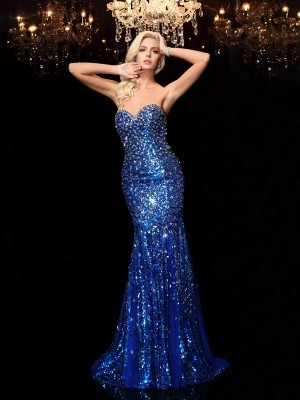Trumpet/Mermaid Sweetheart Sleeveless Court Train Sequin Sequins Dresses