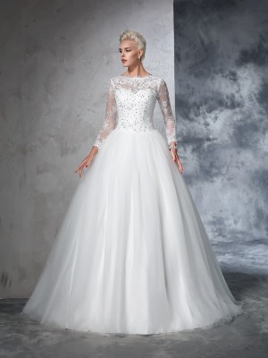 Ball Gown Long Sleeves Bateau Sweep/Brush Train Lace Net Wedding Dresses